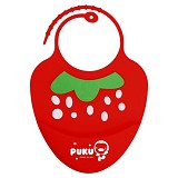 PUKU Baby Silicone Bib [P14204-R] - Red - Celemek Bayi / Bib
